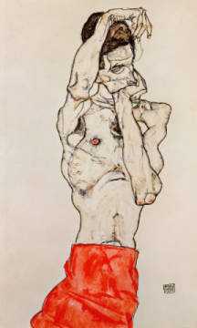 Male nude, standing, with red loincloth of artist Egon Schiele as framed image