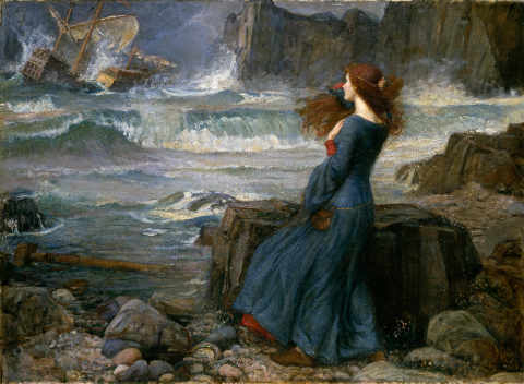 Kunstdruck, individuelle Kunstkarte: John William Waterhouse, Miranda - Der Sturm