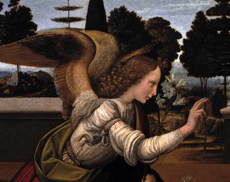 The Annunciation / detail 3 of artist Leonardo da Vinci as framed image
