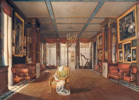 Auguste Simon Garneray - Intérieur de la galerie de musique de la ...