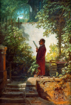 Fine Art Reproduction, individual art card: Carl Spitzweg, Zeitungsleser im Hausgärtchen