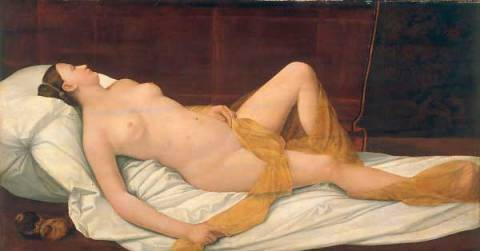 Nude woman lying down of artist Bernardino Licinio as framed image