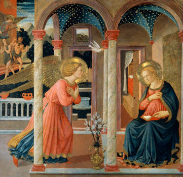 The Annunciation of artist Fra Angelico as framed image
