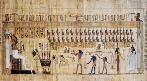 Fine Art Reproduction, individual art card: Ägyptische Malerei, Other World / Death Book / Egypt.Papyrus