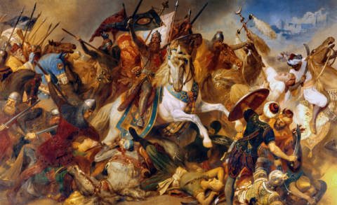 Fine Art Reproduction, individual art card: Hermann Wislicenus, Barbarossa's victory at Iconium