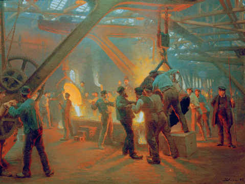 Fine Art Reproduction, individual art card: Peter Severin Kr�yer, At the foundry of Burmeister & Wain