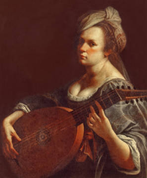 A Portrait of a Woman playing the Lute; possibly a Self-Portrait of the Artist of artist Artemisia Gentileschi as framed image