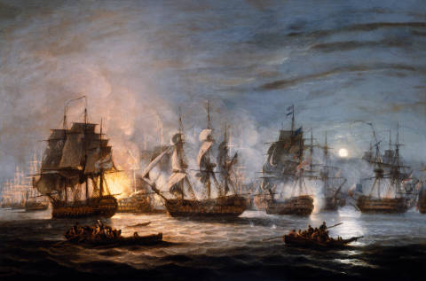 The Battle of the Nile, August 1st 1798 of artist Thomas Luny as framed image