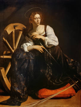 Saint Catherine of Alexandria of artist Michelangelo Merisi Caravaggio as framed image
