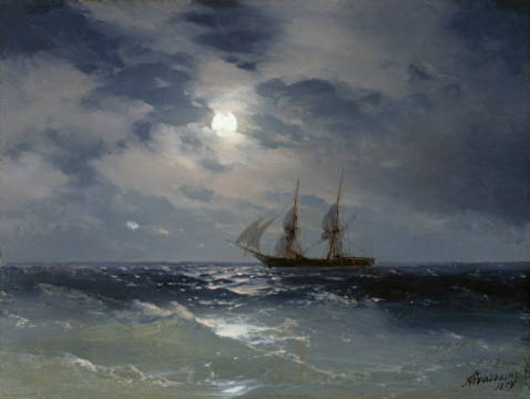 Sailing ship in the moonlight on a calm sea of artist Iwan Konstantinowitsch Aiwasowski as framed image