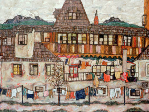 House with drying washing of artist Egon Schiele as framed image