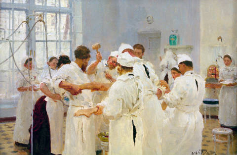 The Surgeon J.W. Pavlov in the operating Theatre of artist Ilya Efimovich Repin as framed image