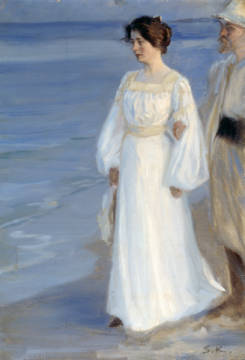 Marie Kroyer on the Beach of artist Peter Severin Kr�yer as framed image