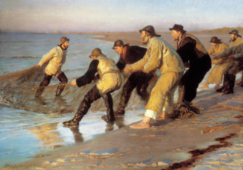 Fine Art Reproduction, individual art card: Peter Severin Kr�yer, Pulling in the Nets