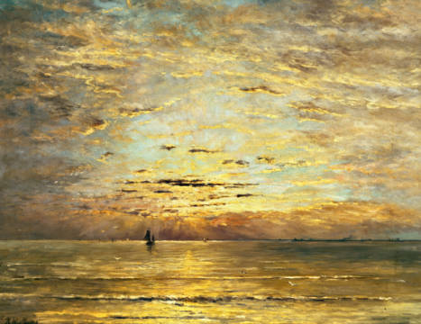 Fine Art Reproduction, individual art card: Hendrik William Mesdag, A Seascape at Sunset