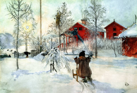 Fine Art Reproduction, individual art card: Carl Larsson, Larsson / The Farmhouse and Washhouse