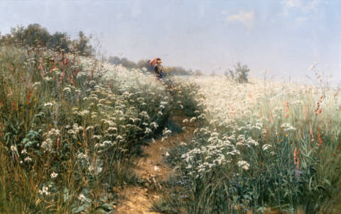 A Lady with a Parasol in a Meadow with Cow Parsley of artist Iwan Iwanowitsch Schischkin as framed image
