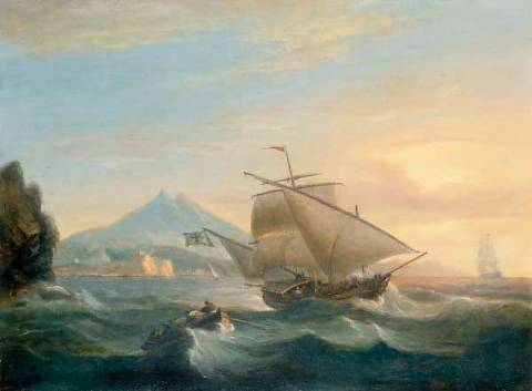 Kunstdruck: Thomas Luny, A Felucca off the North African Coast