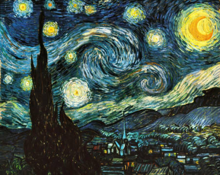 The Starry Night / variant of artist Vincent van Gogh as framed image