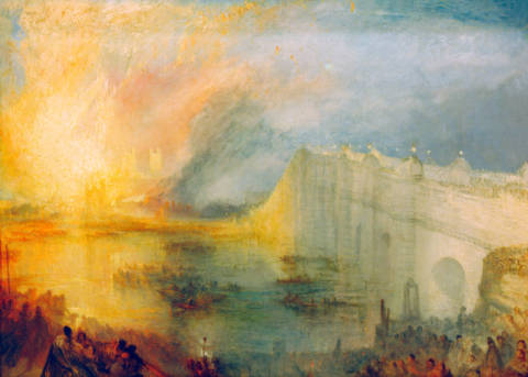 Kunstdruck, individuelle Kunstkarte: Joseph Mallord William Turner, The Burning of the Houses of Lords and Commons, October 16, 1834