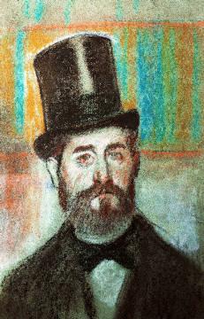 Edgar Degas: Mann mit Zylinder. Kunstdruck, Leinwandbild