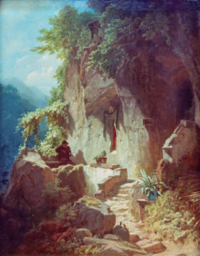 Hermit making music in front of his dwelling of artist Carl Spitzweg as framed image