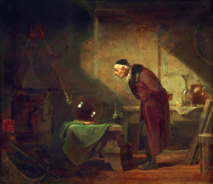 The Alchemist with Book in the Left of artist Carl Spitzweg as framed image