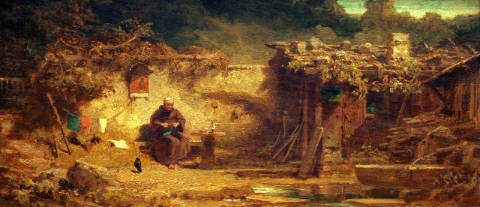 Hermit knitting of artist Carl Spitzweg as framed image