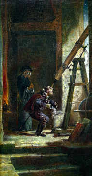 Der Astrologe of artist Carl Spitzweg as framed image