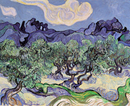 Olive trees with Les Alpilles in the background of artist Vincent van Gogh as framed image