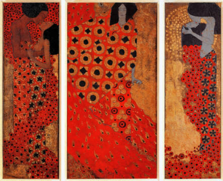 Fine Art Reproduction, individual art card: Gustav Klimt, Triptych