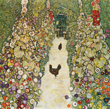 Fine Art Reproduction, individual art card: Gustav Klimt, Gartenweg mit Hühnern