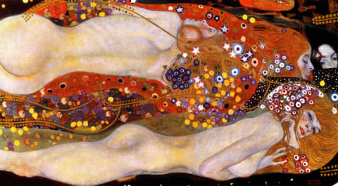 Fine Art Reproduction, individual art card: Gustav Klimt, Watersnakes II (The Friends)