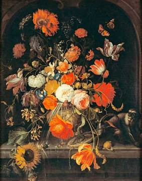 Flower still life with insects, snails and a monkey of artist Abraham Mignon as framed image