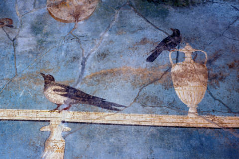 Pompeii / Wall decoration with birds of artist Pompeji as framed image