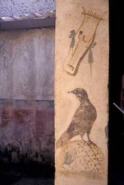 Pompeii / Raven and Lyre / Wall painting of artist Pompeji as framed image