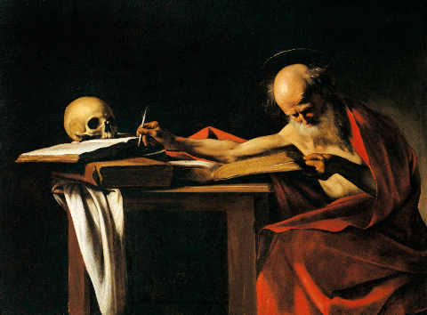 St. Jerome writing of artist Michelangelo Merisi da Caravaggio as framed image