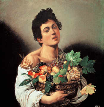 Boy with a Basket of Fruit of artist Michelangelo Merisi da Caravaggio as framed image