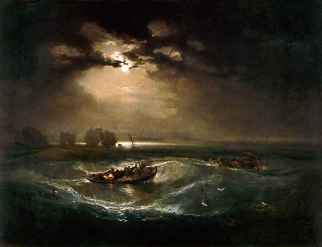 Kunstdruck, individuelle Kunstkarte: Joseph Mallord William Turner, Fishermen at Sea / The Cholmeley Sea Piece