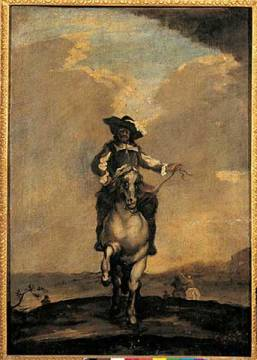 Nobleman on horseback of artist Carel Fabritius as framed image