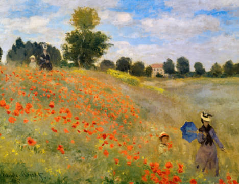 Poppy field at Argenteuil / detail 1 of artist Claude Monet as framed image