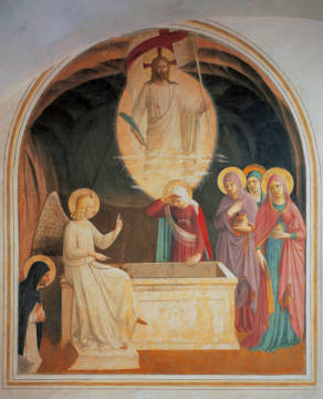 The resurrected Christ, the three women by the tomb and Saint Dominic of artist Fra Angelico as framed image