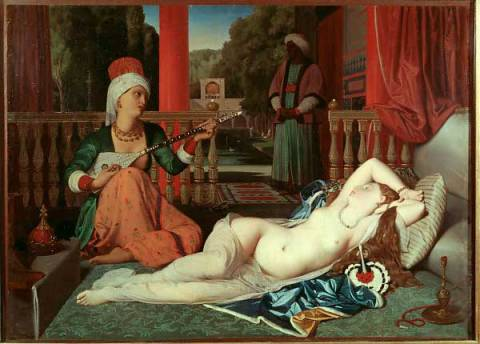 L'Odalisque a l'esclave of artist Jean-Auguste-Dominique Ingres as framed image