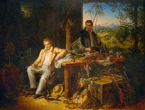 Humboldt and Bonpland by the Orinoco River of artist Eduard Ender as framed image