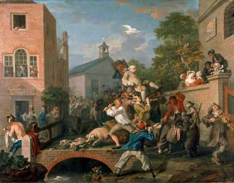 Kunstdruck: William Hogarth, The Election: Chairing the Members