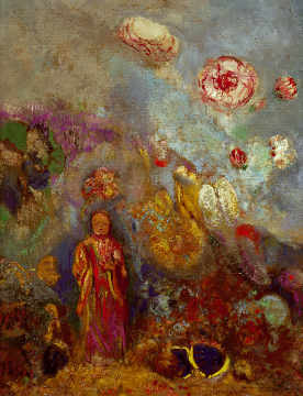 Bouddha et fleurs of artist Odilon Redon as framed image