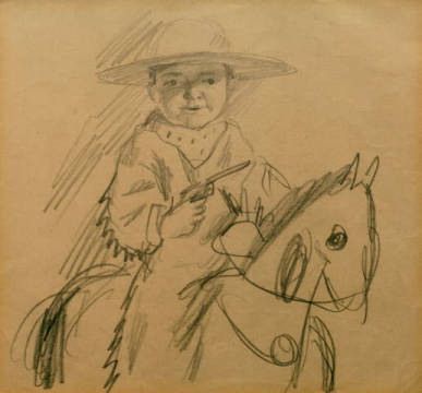 Walter as a cowboy of artist August Macke as framed image