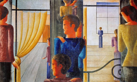 Fine Art Reproduction, individual art card: Oskar Schlemmer, Group of twelve with interior