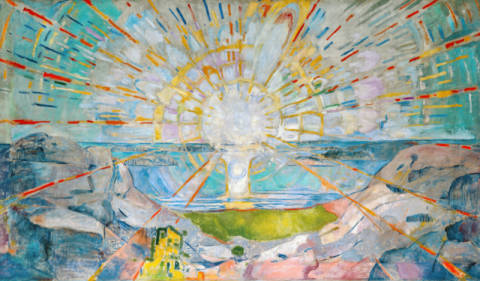 The Sun of artist Edvard Munch as framed image