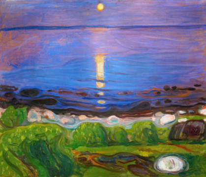 Summer Night on the Beach of artist Edvard Munch as framed image